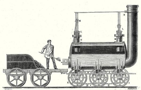 Locomotive Drawing - Stephensons Endless Chain Locomotive by English School