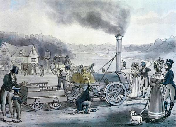 Invention Painting - Stephensons Northumbrian, The First Locomotive To Be Built With An Integral Firebox by English School