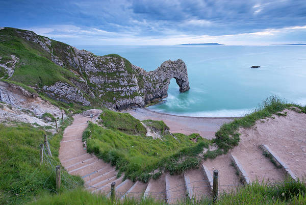 Natural Arch Photograph - Steps Leading Down To Durdle Door On by Adam Burton / Robertharding