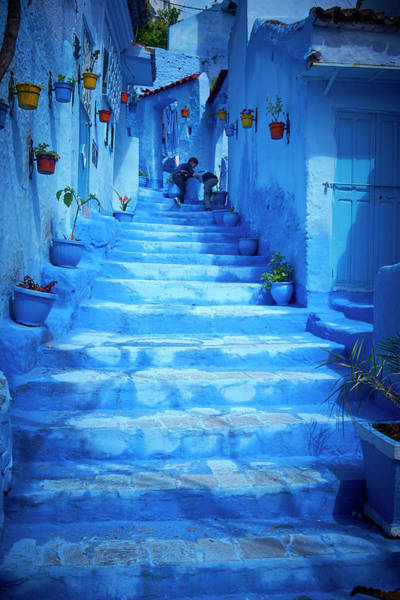 Chefchaouen Wall Art - Photograph - Steps Of Colorful Blue Historical by Larry Williams & Associates