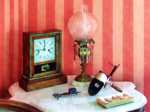 Photograph - Stereopticon Lamp And Clock by Susan Savad