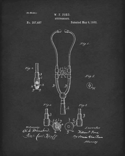 Drawing - Stethoscope 1882 Patent Art Black by Prior Art Design