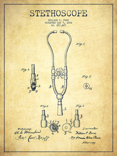 Patent Application Wall Art - Digital Art - Stethoscope Patent Drawing From 1882 - Vintage by Aged Pixel