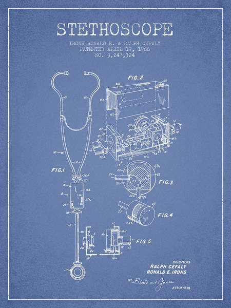 Wall Art - Digital Art - Stethoscope Patent Drawing From 1966- Light Blue by Aged Pixel