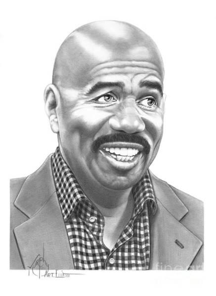 Famous People Drawing - Steve Harvey by Murphy Elliott