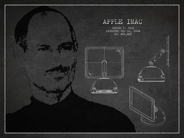 Wall Art - Digital Art - Steve Jobs Imac  Patent - Dark by Aged Pixel