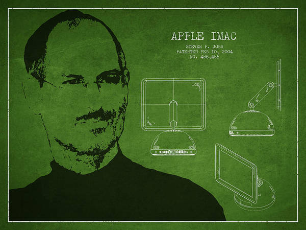 Wall Art - Digital Art - Steve Jobs Imac  Patent - Green by Aged Pixel