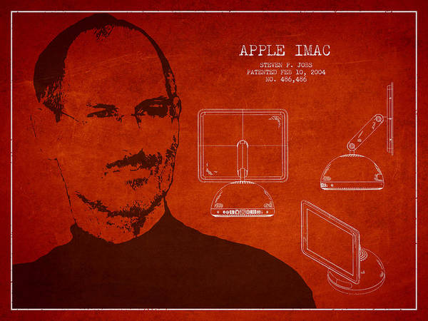 Wall Art - Digital Art - Steve Jobs Imac  Patent - Red by Aged Pixel