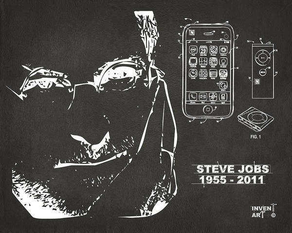 Wall Art - Digital Art - Steve Jobs Iphone Patent Artwork Gray by Nikki Marie Smith