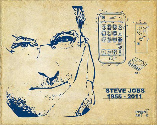 Wall Art - Digital Art - Steve Jobs Iphone Patent Artwork Vintage by Nikki Marie Smith
