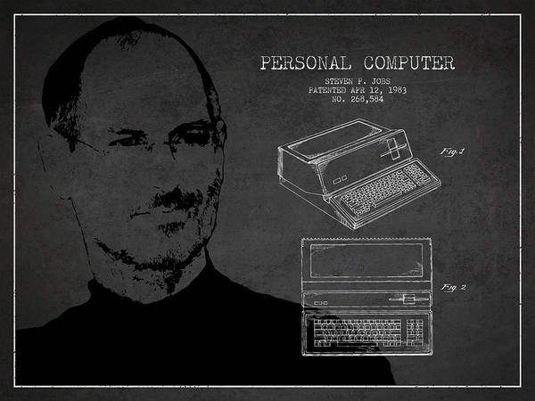 Wall Art - Digital Art - Steve Jobs Personal Computer Patent - Dark by Aged Pixel