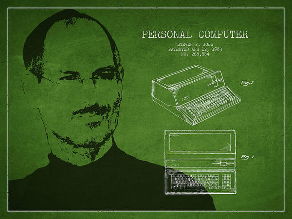 Wall Art - Digital Art - Steve Jobs Personal Computer Patent - Green by Aged Pixel