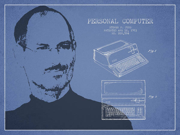 Wall Art - Digital Art - Steve Jobs Personal Computer Patent - Light Blue by Aged Pixel