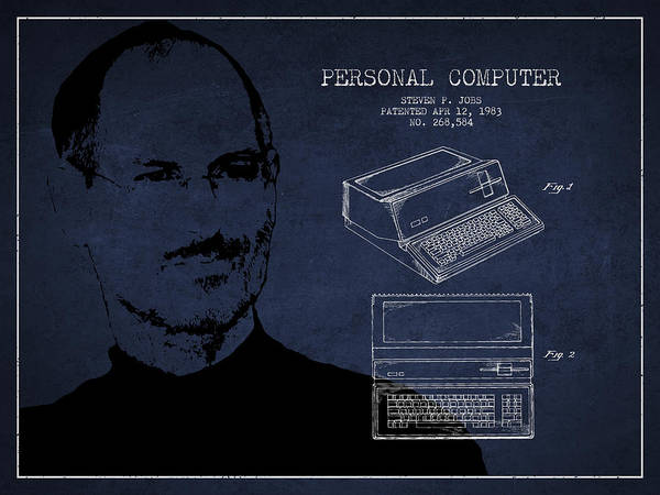 Wall Art - Digital Art - Steve Jobs Personal Computer Patent - Navy Blue by Aged Pixel