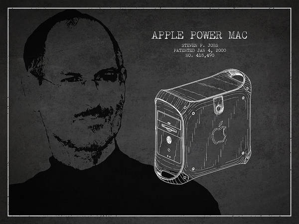 Wall Art - Digital Art - Steve Jobs Power Mac Patent - Dark by Aged Pixel