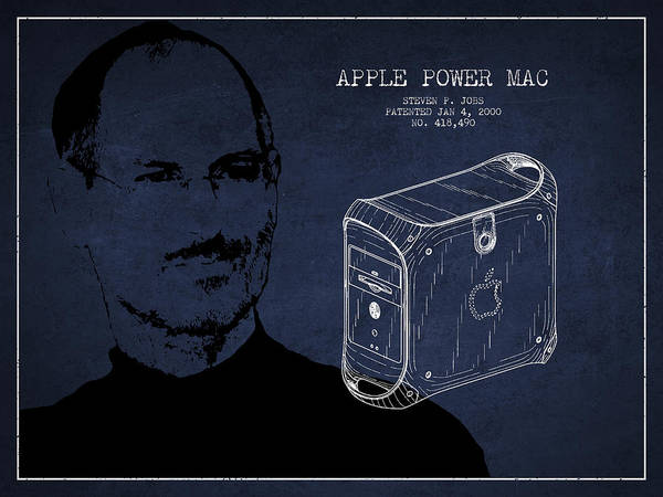 Wall Art - Digital Art - Steve Jobs Power Mac Patent - Navy Blue by Aged Pixel