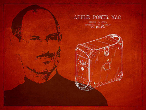 Wall Art - Digital Art - Steve Jobs Power Mac Patent - Red by Aged Pixel