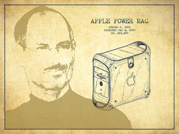 Wall Art - Digital Art - Steve Jobs Power Mac Patent - Vintage by Aged Pixel