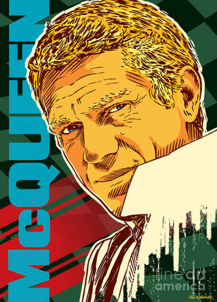 1960s Digital Art - Steve Mcqueen Pop Art by Jim Zahniser