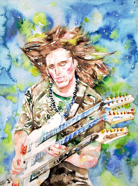 Steve Vai Painting - Steve Vai Playing The Guitar -watercolor Portrait by Fabrizio Cassetta
