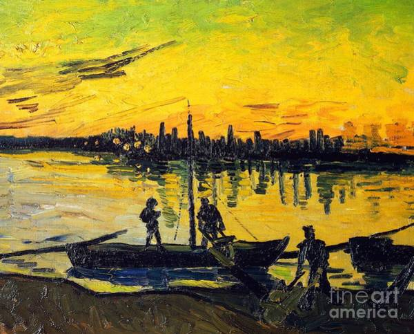 Far Away Wall Art - Painting - Stevedores In Arles by Vincent van Gogh