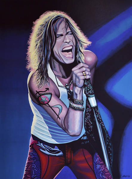Knees Wall Art - Painting - Steven Tyler 3 by Paul Meijering