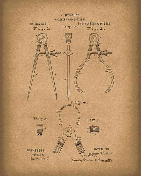 Drawing - Stevens Calipers And Dividers 1886 Patent Art Brown by Prior Art Design