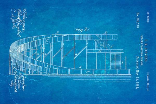 Fitter Photograph - Stevens Roller Coaster Patent Art  2 1884 Blueprint by Ian Monk