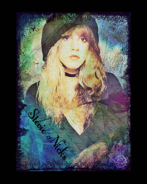 Purple Rose Digital Art - Stevie Nicks - Beret by Absinthe Art By Michelle LeAnn Scott
