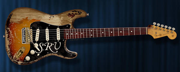 Rays Digital Art - Stevie Ray Vaughan Stratocaster by WB Johnston
