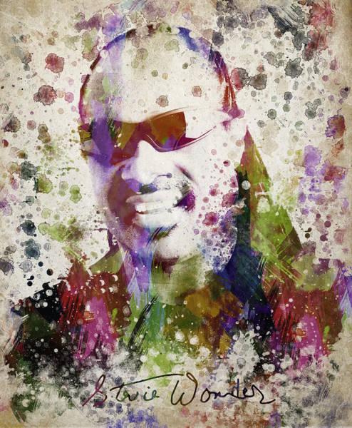 Bass Guitar Digital Art - Stevie Wonder Portrait by Aged Pixel