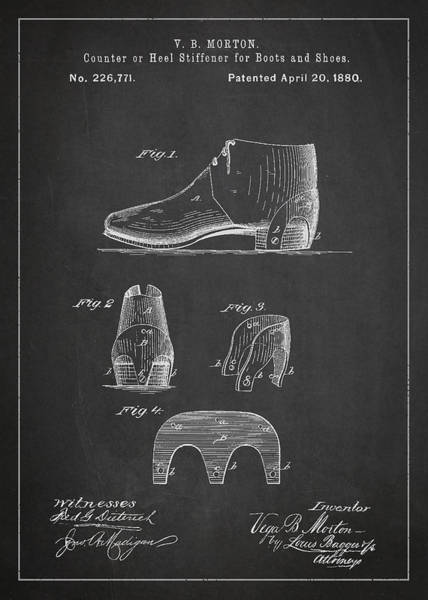 Wall Art - Digital Art - Stiffner For Boots And Shoes Patent Drawing From 1880 by Aged Pixel