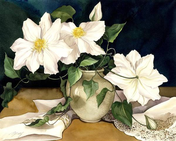 Painting -  Clematis  With Lace by Alfred Ng
