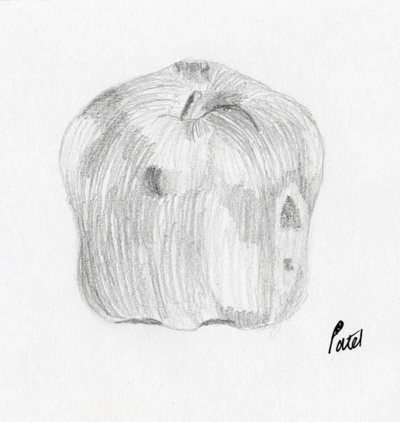 Juicy Drawing - Still Life - Apple by Bav Patel