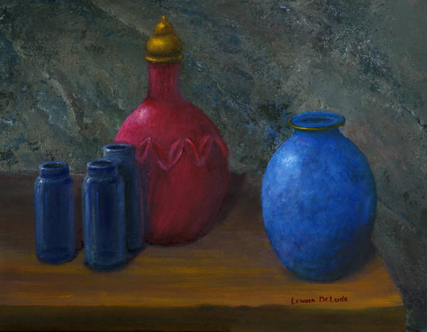 Painting - Still Life Art Blue And Red Jugs And Bottles by Lenora  De Lude