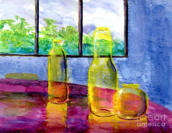 Painting - Still Life Art Bright Yellow Bottles And Blue Wall by Lenora  De Lude