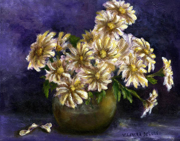 Painting - Still Life Art Diaisies In Purple  by Lenora  De Lude