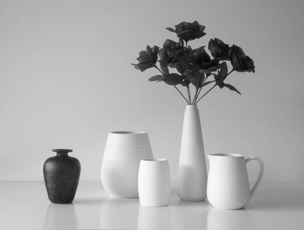 Vases Photograph - Still Life In Black And White by Jacqueline Hammer