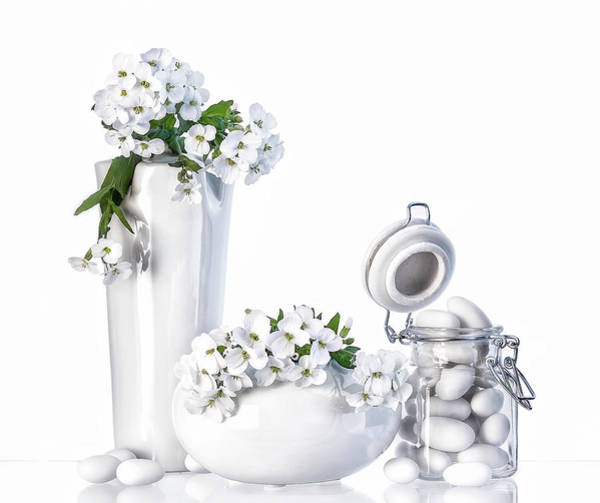 Vases Photograph - Still Life In White by Aida Ianeva