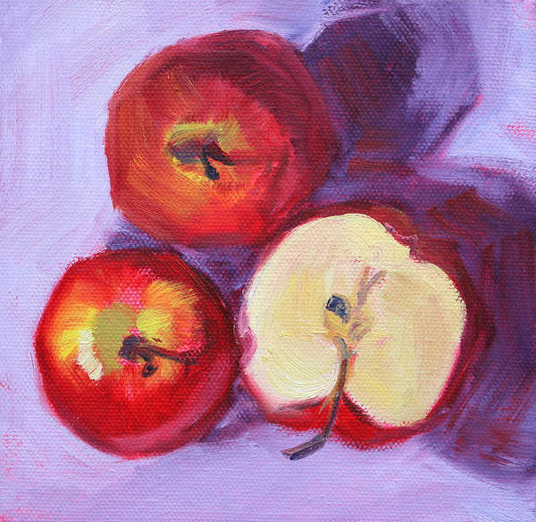 Vegan Painting - Still Life Kitchen Apple Painting by Nancy Merkle