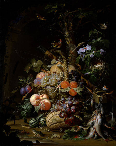 Hibiscus Photograph - Still Life Of Fruit by Abraham Mignon
