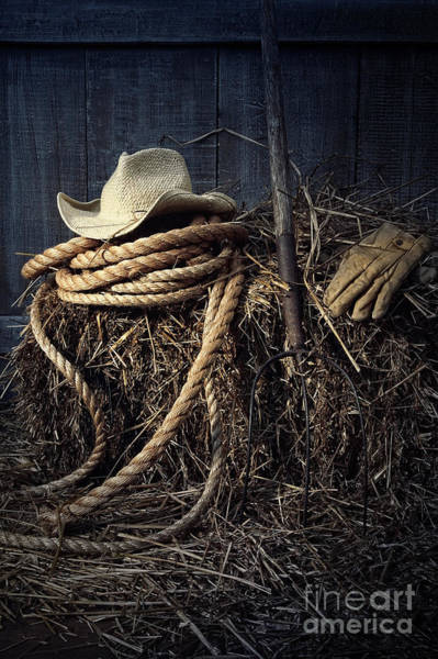 Photograph - Still Life Of Straw Hat And Gloves In Barn by Sandra Cunningham