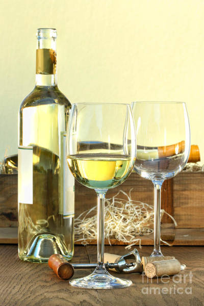 Photograph - Still Life Of White Wine Bottle And Glasses With Crate by Sandra Cunningham