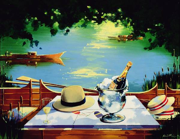 Champagne Painting - Still Life Regatta by Andrew Hewkin