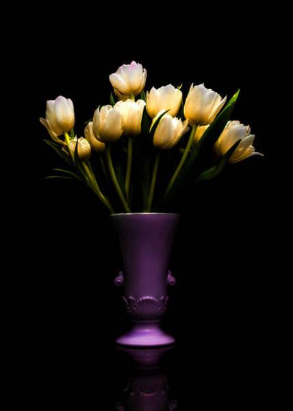 Urn Photograph - Still Life - White Tulips 2 by Jon Woodhams
