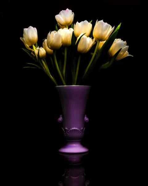 Urn Photograph - Still Life - White Tulips by Jon Woodhams