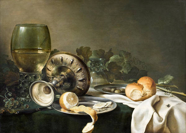 Bread And Wine Painting - Still-life by Willem Claeszoon Heda