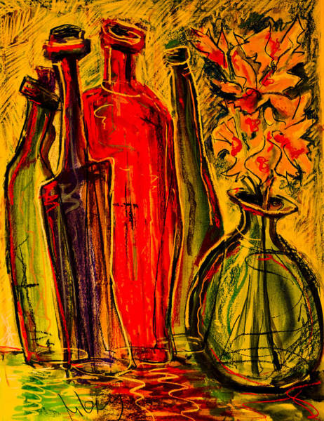 Painting - Still Life With 4 Bottles by Maxim Komissarchik