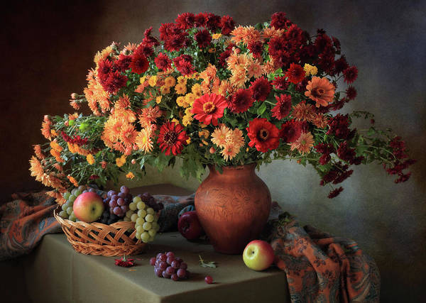 Wall Art - Photograph - Still Life With A Bouquet Of Chrysanthemums And Fruit by ??????????? ??????????