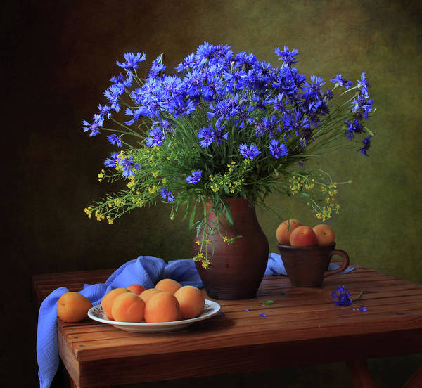 Vases Photograph - Still Life With A Bouquet Of Cornflowers And Apricots by ??????? ????????